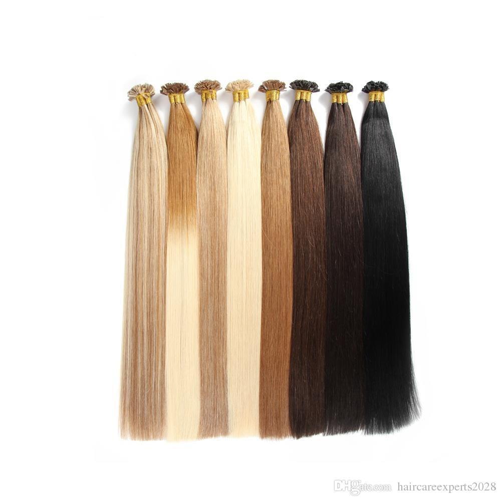14''-26'' 1g/strand 100strands/lot full cuticle Italian Keratin flat tip hair extensions brazilian remy human hair
