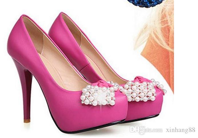 Nuove perle di diamanti con scarpe a tacco alto super sottili scarpe impermeabili più leggere