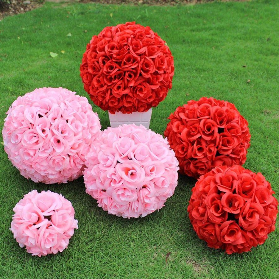 15 bis 30 cm künstliche verschlüsselung rose seide blume küssen bälle hängende kugel für weihnachtsverzierungen hochzeitsparty dekorationen liefert