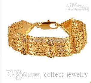 18mm szeroki klasyczny bransoletka łańcucha nadgarstka 14K Gold GEP