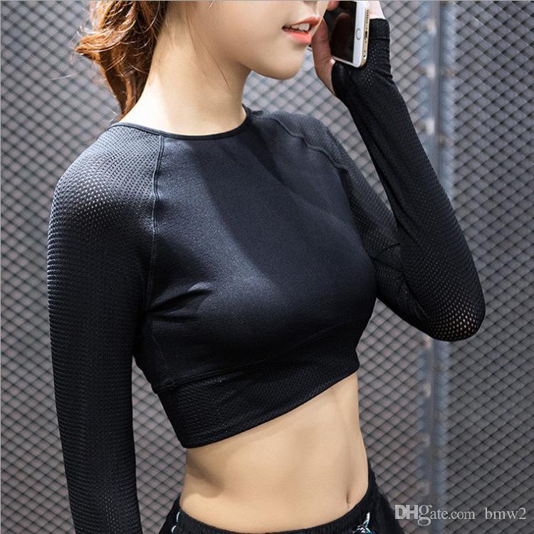 Frauen Sport Mesh Atmungsaktive Langarm Yoga Shirt Fitness Gym Running Training Kurzen Stil Unterhemd Crop Tops