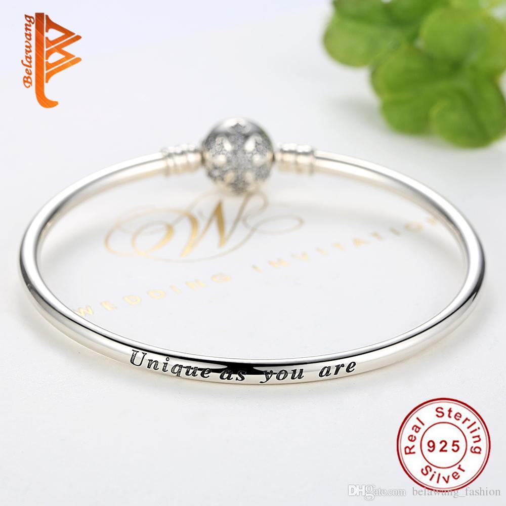 BELAWANG 925 Sterling Silver Bracelet&Bangle with Snowflake Positioning Buckle Bead Fit Pandora Charm Bracelet&Bangle Jewelry Making