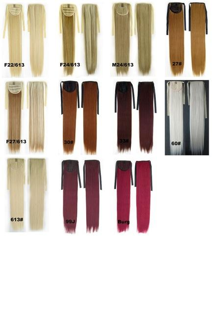 Wholesale- Heat Resistance Synthetic Ponytail Long Straight Ponytail Hairpiece clip in on extension, 28 colors available,55cm,10pcs/lot