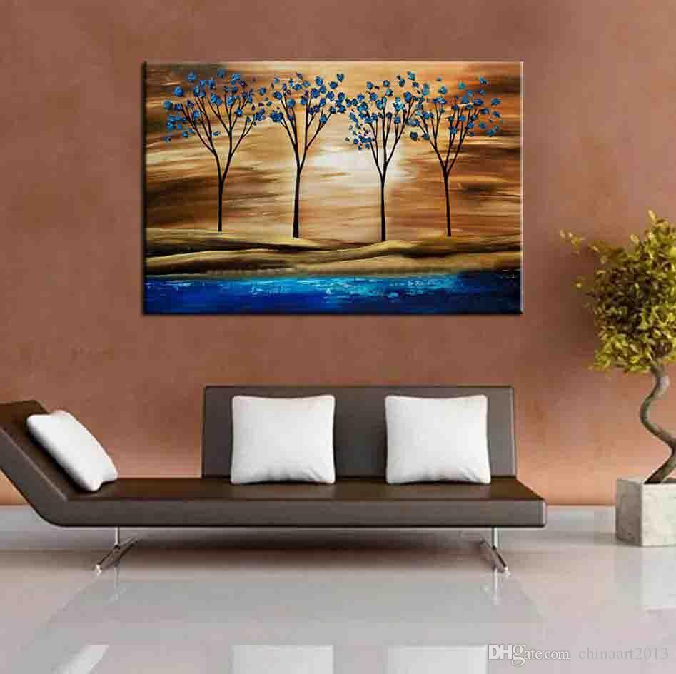 손으로 그린 나무 회화 현대 추상 홈 장식 벽 예술 그림 손으로 만든 풍경 유화