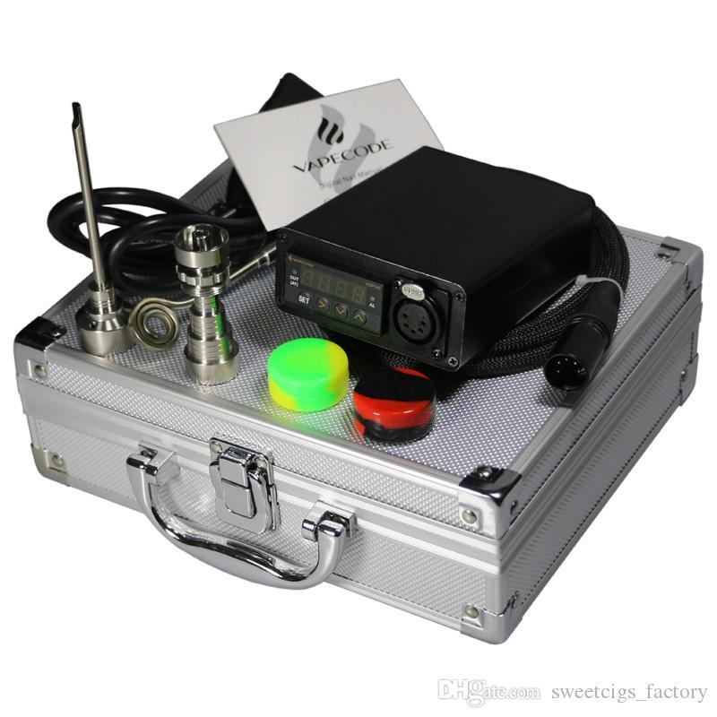 VAPECODE DB01XLR-AB electric dab nail kit with Aluminum Box control box Gr2 titanium nail for glass bong herbal wax coil cord with XLR plug
