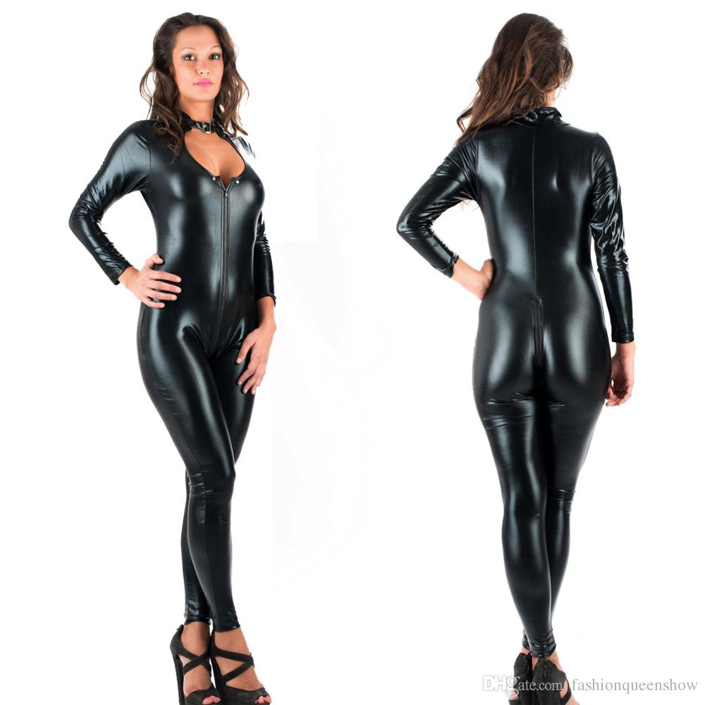 5XL Sexy Novelty Women Jumpsuit Black Faux Leather Catsuit Zipper Front To Crotch Bodysuit Cosplay Costume