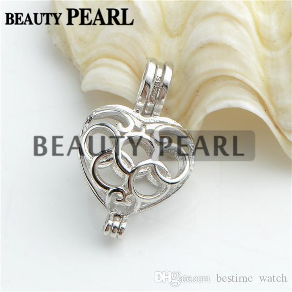 Bulk of 3 Pieces Locket Gift Cage 925 Sterling Silver Love Wish Pearl Heart Hollow Cage Pendant