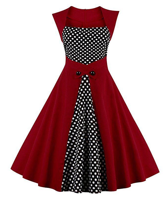 WomenS Retro Elegant Dress 1950s Polka Dots Patchwork Sleeveless