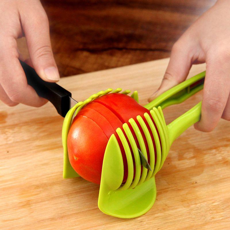 10 pc / lot Trancheuse De Tomate En Plastique Fruits Outil De Coupe Parfait Trancheuse De Tomate De Pomme De Terre Onion