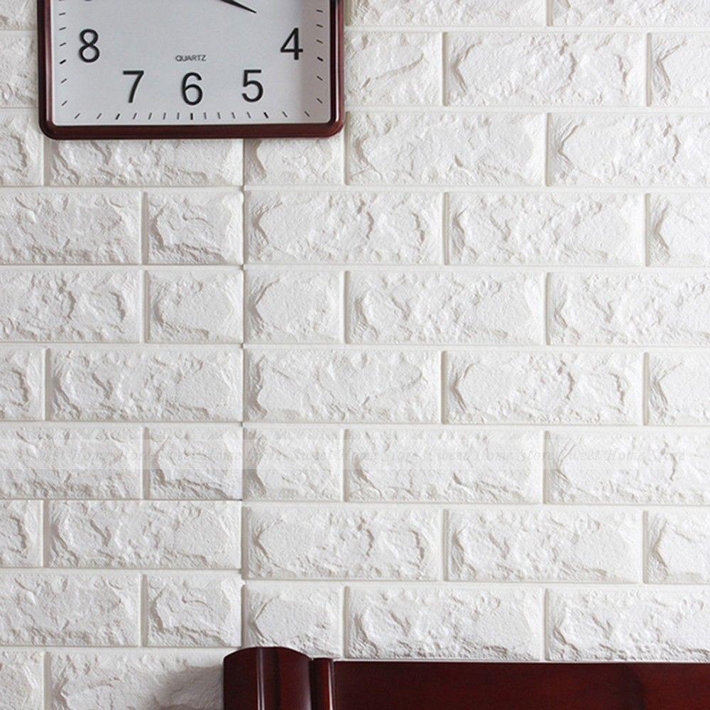 Adhesive wall stickers wall murals ideas white 3d bricks self adhesive wall sticker soft foam panels amipublicfo Gallery