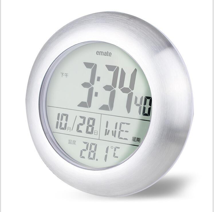 متعدد الوظائف للماء دش الوقت ووتش الرقمية الحمام المطبخ فندق ساعة الحائط الفضة درجة الحرارة الكبيرة والرطوبة العرض