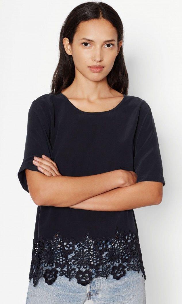 garment factory 2017 spring ladies silk woven top t-shirt Guipure ...