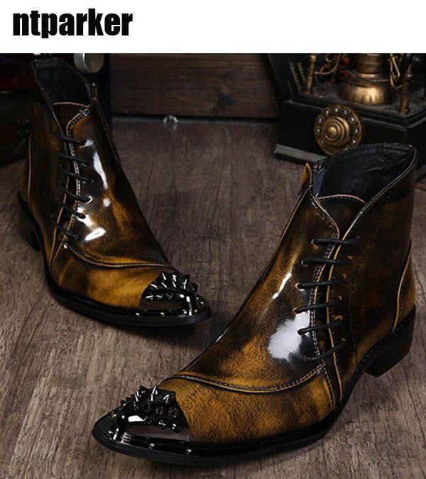 Stivaletti da uomo western in stoffa Ponited Stivaletti da moto in punta di ferro con fibbia Scarpe da designer in bronzo Stivali per uomo!