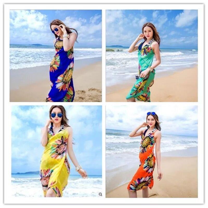 2017 새로운 여성 꽃 비키니 커버 인쇄 섹시한 파 레오 비치 드레스 보헤미안 Sarong시 폰 비치 비키니 랩 수영복 스카프 숄 브레 이스