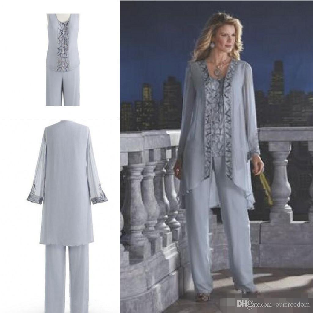 New Arrival 2019 Mother Of The Bride Three-Piece Pant Suit Chiffon Beach Wedding Mother's Groom Dress Long Sleeve Beads Wedding Guest Dress