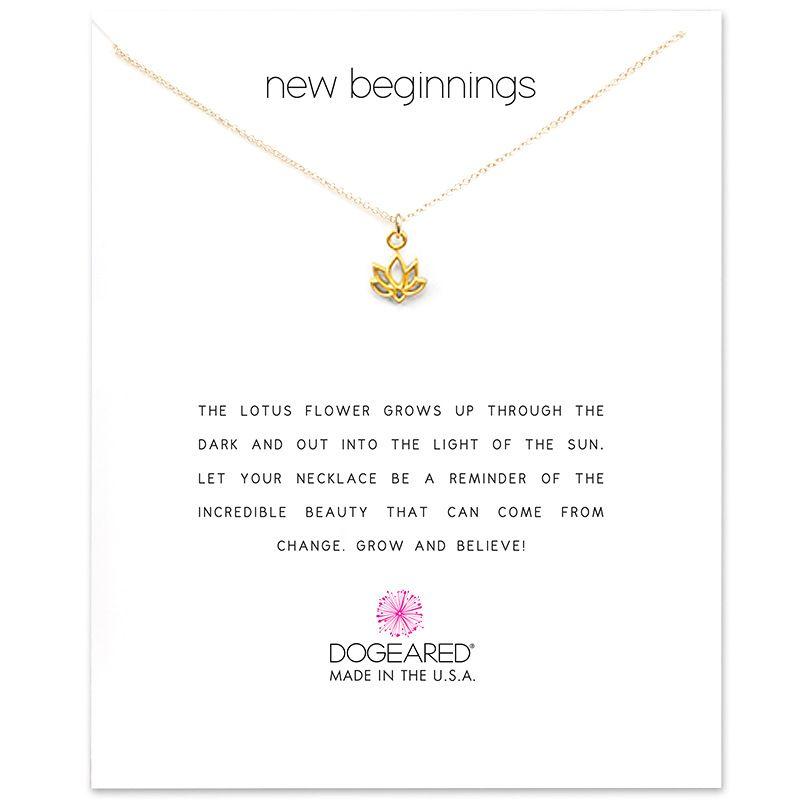 Con la carta! Collana carina con pendente Lotus (nuovo begnning), colore argento e oro, spedizione gratuita e alta qualità.