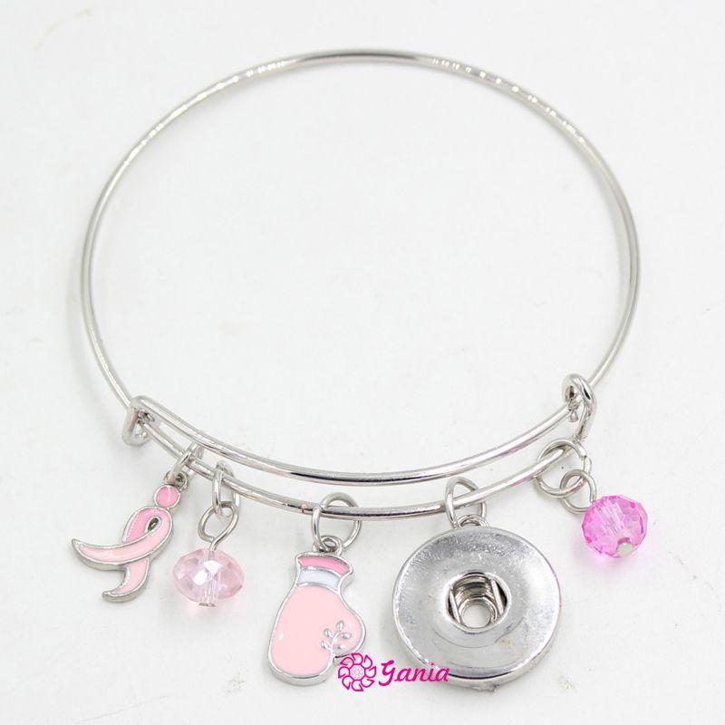 Neue Ankunft Snap Schmuck Brustkrebs Awareness Pink Ribbon Fighting Box Handschuh Erweiterbar Einstellbare Draht Snap Bangles Armband für Frauen