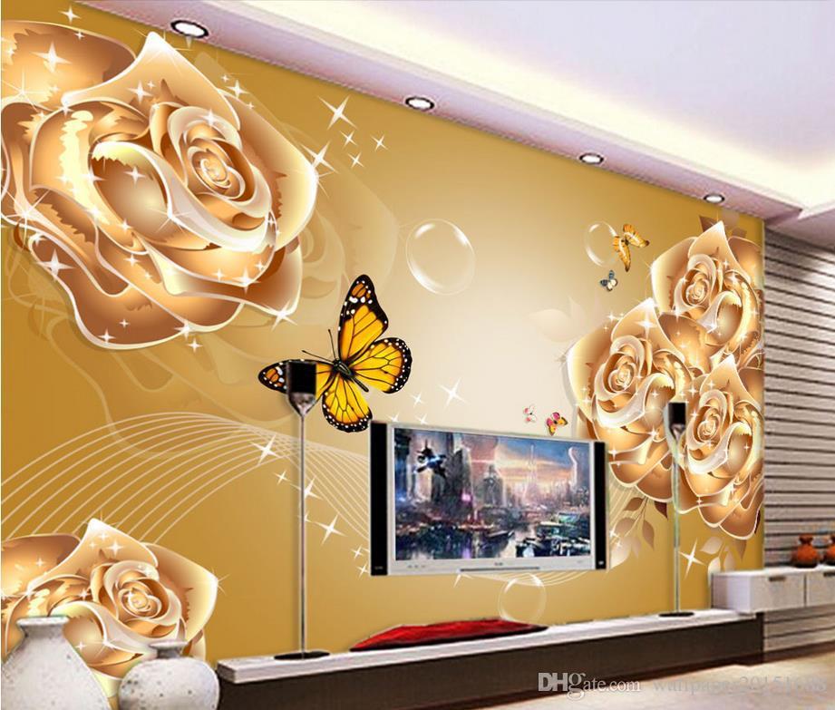 Luxury Gold Rose Flower Living Room Tv Background Wallpaper Mural 3d Wallpaper 3d Wall Papers For Tv Backdrop Wallpaper Screensaver Wallpaper