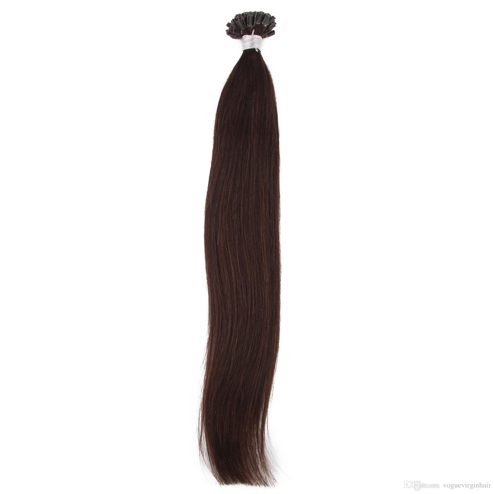 Brazilian virgin hair Straight 0.5g/strand U-Tip Hair Extensions Human Strands Pre-Bonded 16inch--26inch Nail Tip Pre-bonded Hair Extensions