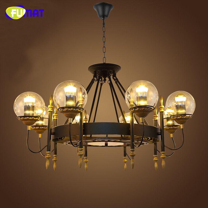 FUMAT Loft Endüstriyel Siyah Avize Lambaları Retro Cam Gölge Parlaklık LED Süspansiyon Lambaları Oturma Odası Vintage Avizeler Işık