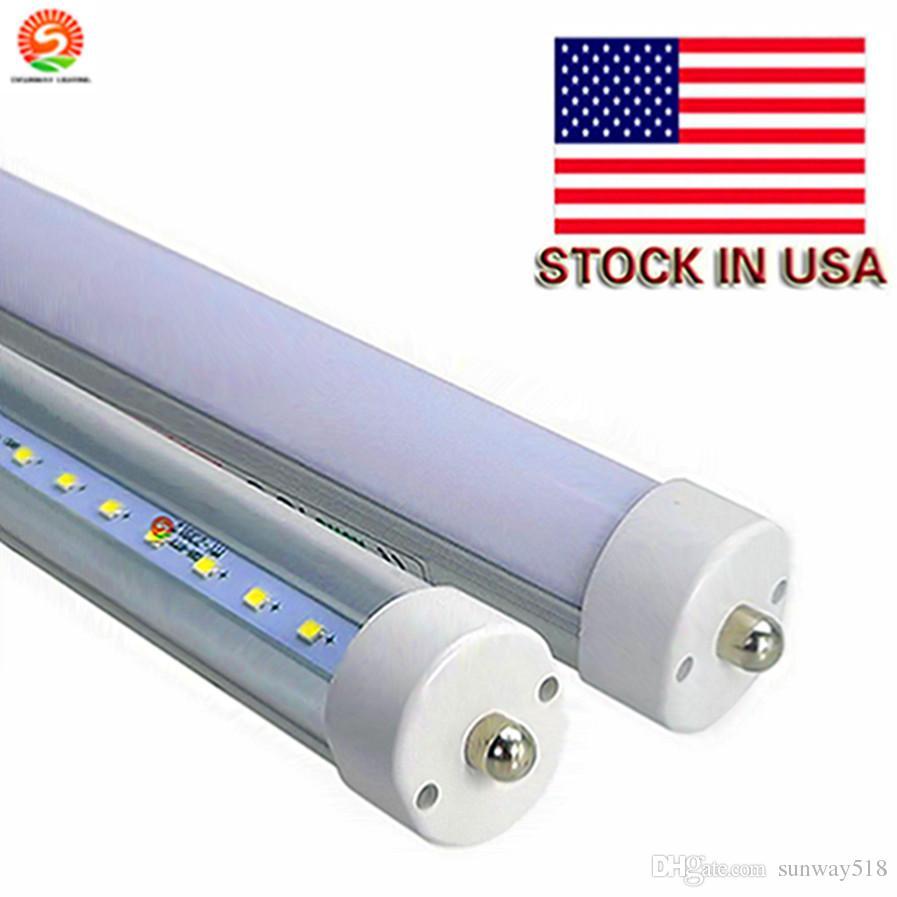 미국의 재고 45W가 주도 8 피트 튜브 조명 따뜻한 화이트 색상 3000K T8 AC100-305V 분명 프로스트 커버 FA8 단일 핀 LED 형광 튜브 램프