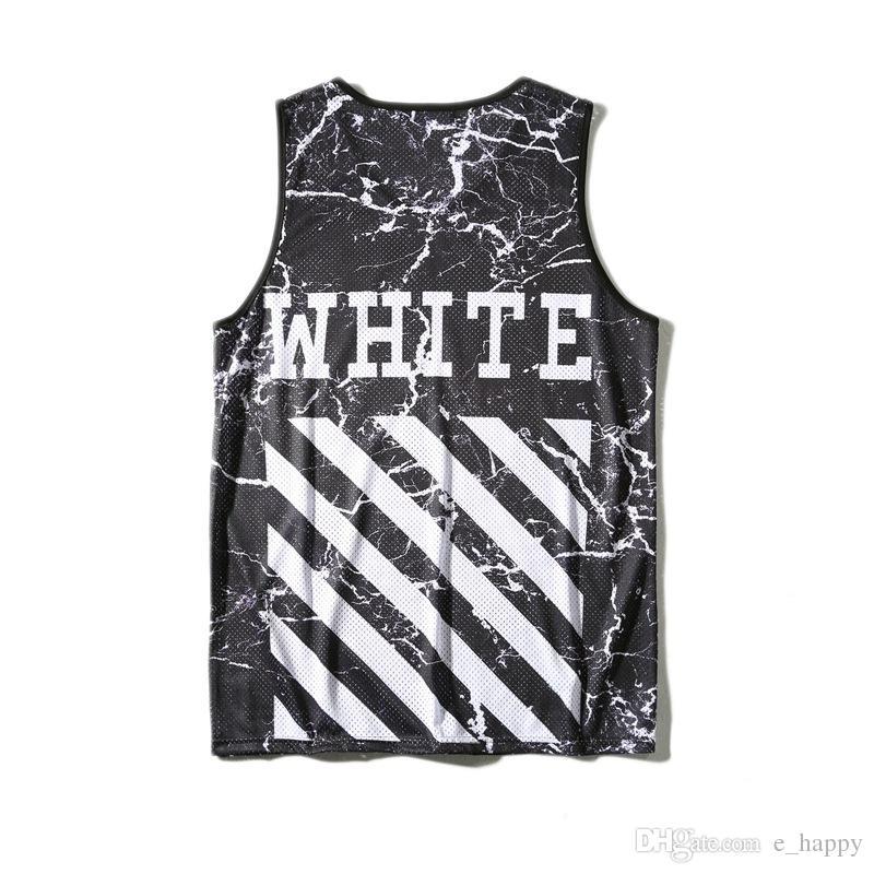 Acheter Brand Off White Hommes Tank Top Religion Stripes Print Mesh