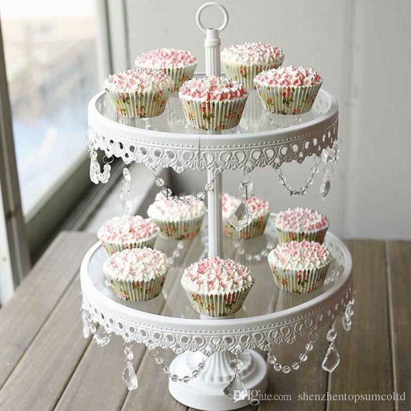 유리 케이크 스탠드 2 계층 화이트 아이언 카니 쿠키 디스플레이 트레이 테이블 웨딩 파티 장식 공급 과자 케이크 도구를 굽기