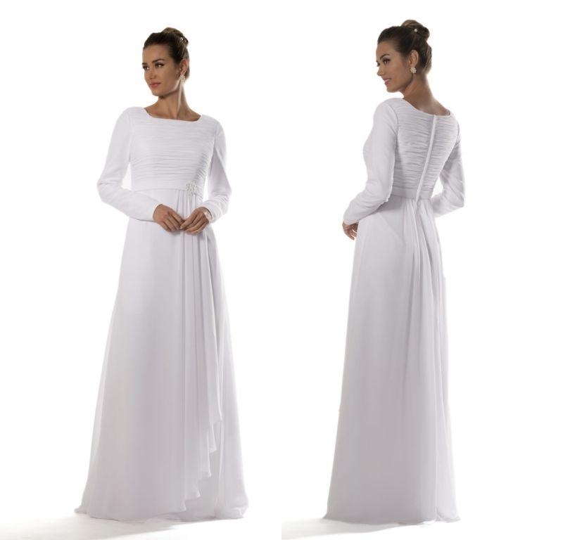 사원 긴 겸손한 들러리 드레스 긴 소매 흰색 쉬폰 신부 사원 리셉션 드레스 비공식 사용자 정의 만든