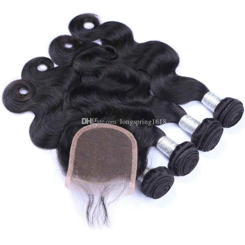 9A Brazilian Lace Closure with Hair Bundles Unprocessed Virgin Hair 3 Pieces Body Wave with One Baby Hair Lace Closure 4 Pcs Lot