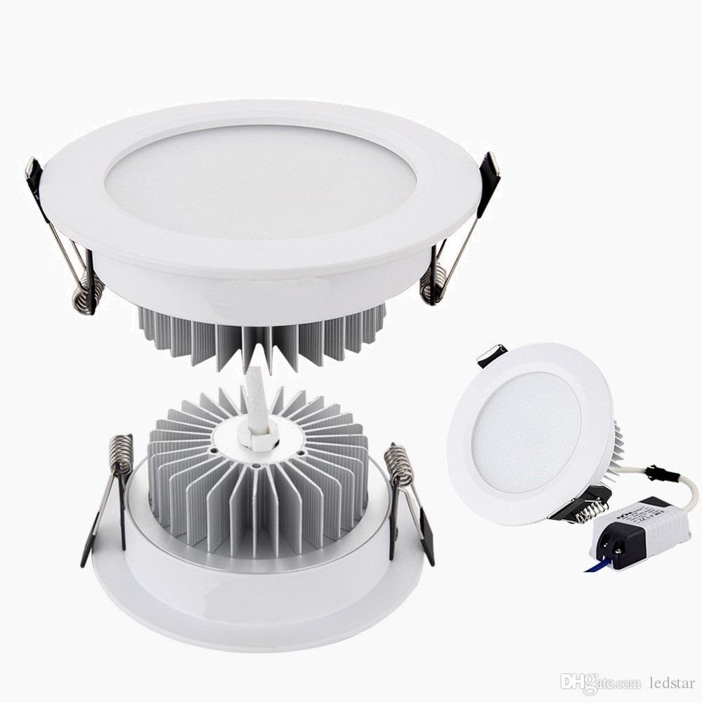 الفضة / أبيض قذيفة الصمام أضواء أسفل 9W 12W 15W 18W عكس الضوء أدى النازل راحة ضوء السقف 110-240 فولت