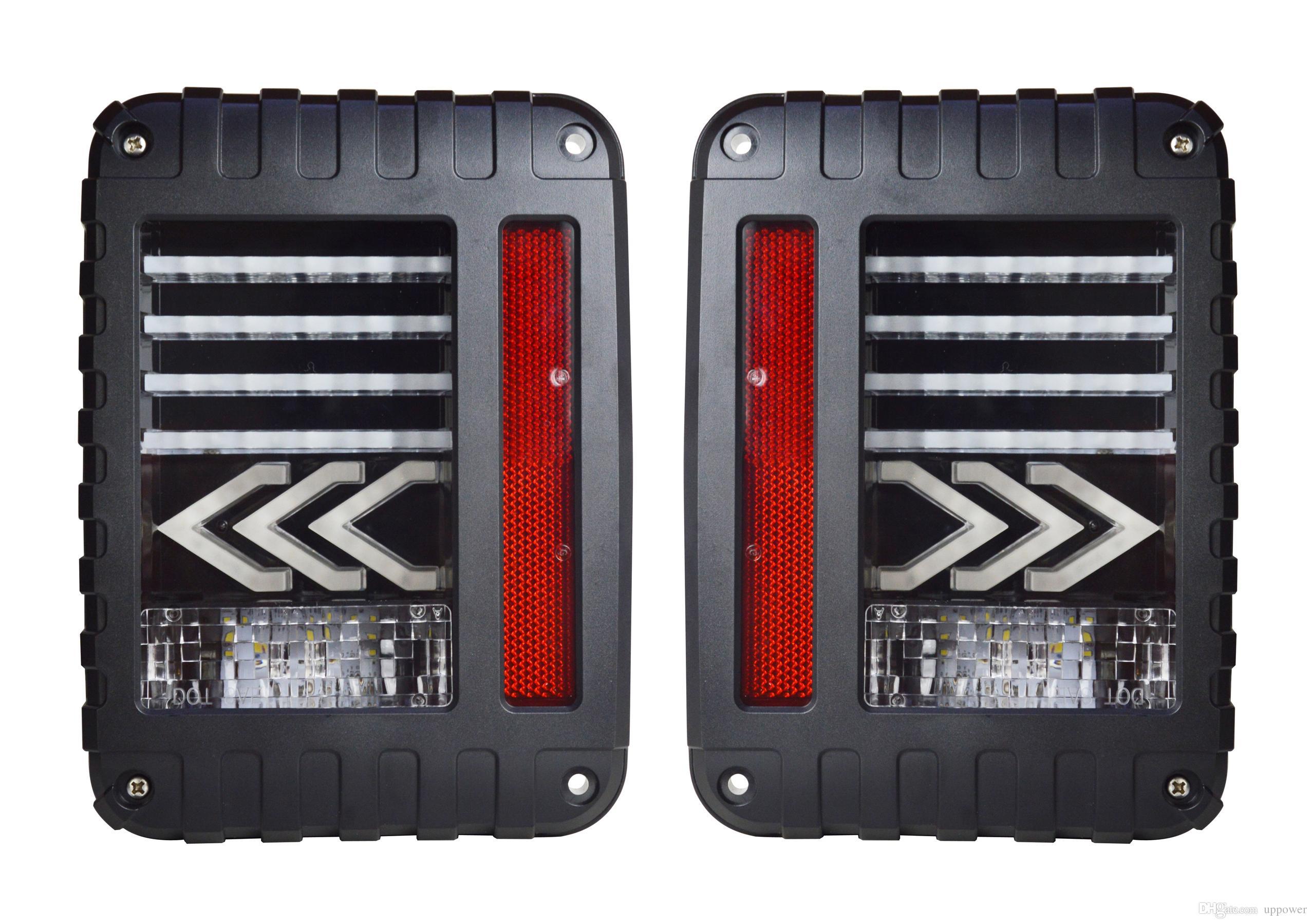 Luces de cola LED ahumada en Carbest 2x para 2007-2015 Jeep Wrangler Tail Light Freno de luz Luz trasera de la parte posterior de la parte trasera de la lámpara de Singal Running