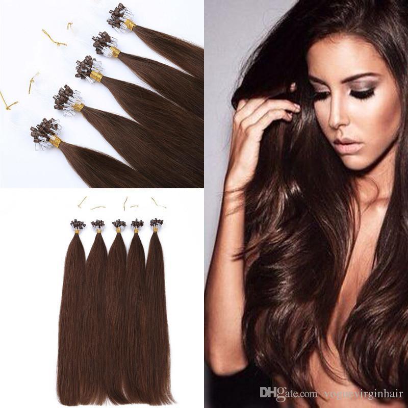 16inch18inch20inch22inch24inch26inch micro beads/links brazilian human hair extensions cabelo #2 dark brown Loop hair extension fast ship