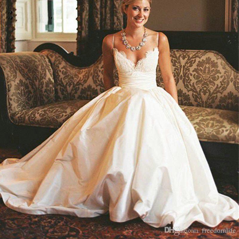 Discount Popular Design White Taffeta Wedding Dresses 2017 Sexy