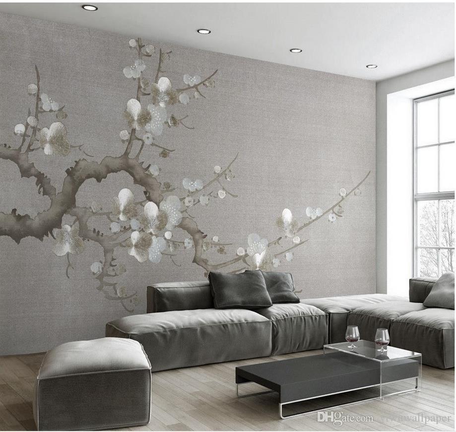 Einfache neue neue chinesische Pflaume TV Hintergrund Wandbild 3D wallpaper 3d Tapeten für TV Hintergrund
