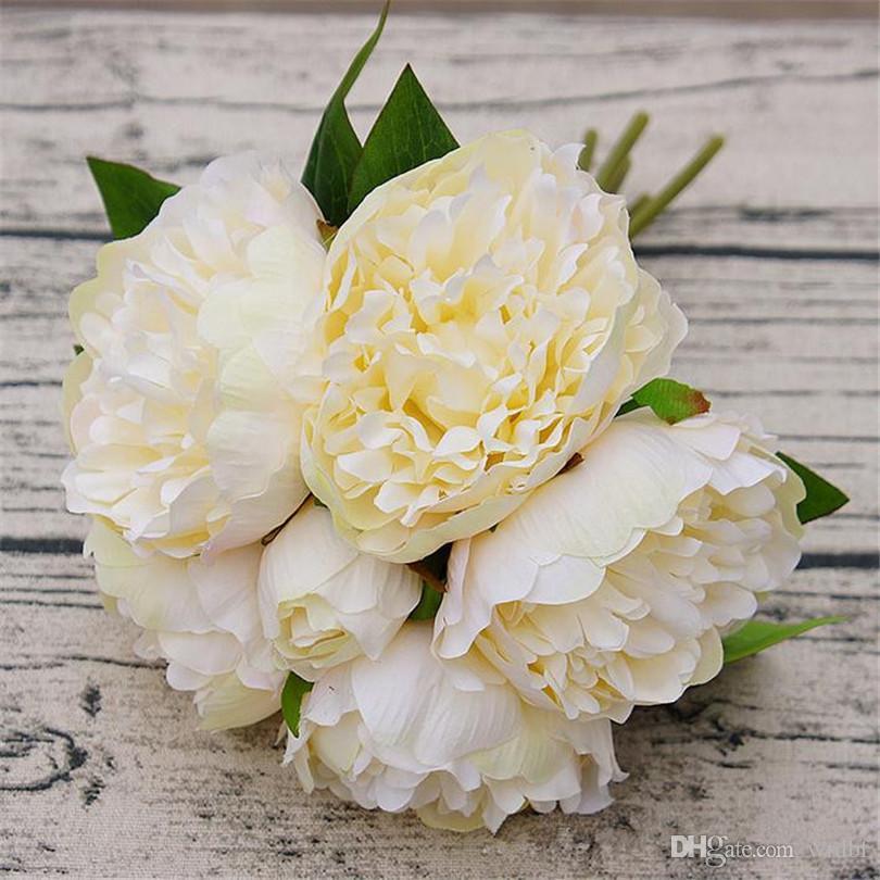"""가짜 모란 꽃다발 26cm / 10.24 """"길이 인공 꽃 Peonia Camellia 신부 부케 웨딩 센터 피스 3 Coors 사용 가능"""