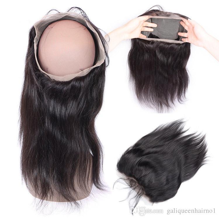 360 مستقيم الدانتيل الجبهة إغلاق الشعر البشري الرباط أمامي مع شعر الطفل شعري الطبيعي قابل للتعديل حزام لا ذرف لا تشابك