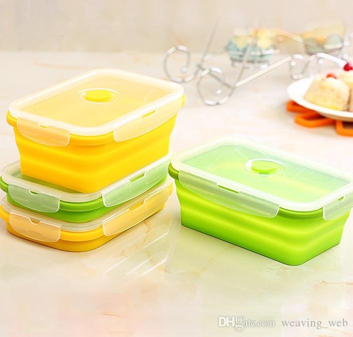 Silicone pieghevole Lunch Box 750ml portatile contenitore del pranzo di Bento della scatola per il picnic o per uso domestico