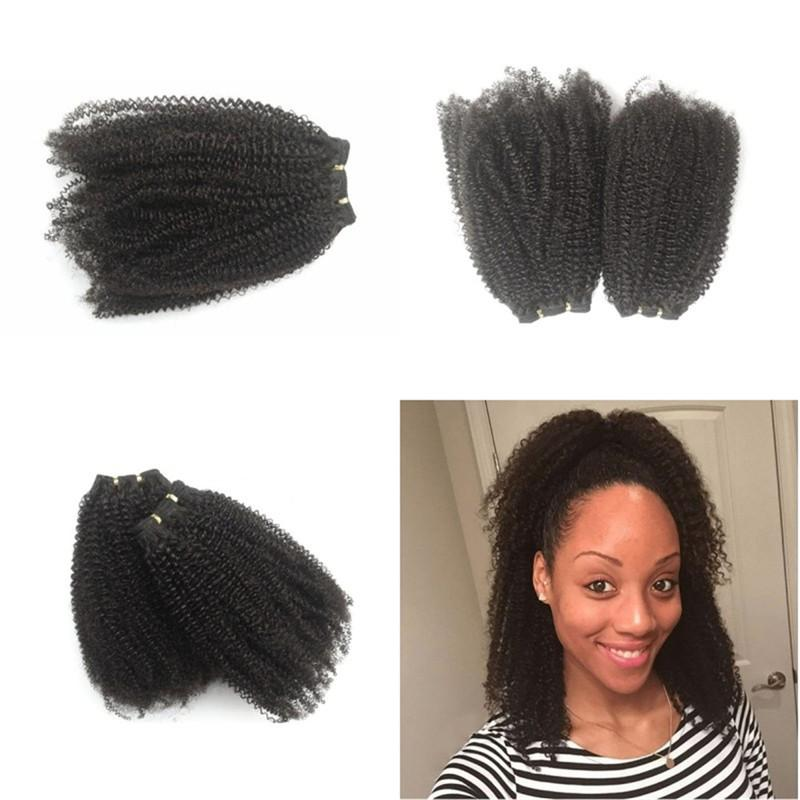 Afro Kinky Curly Human Hair Extensions Brazilian Virgin Hair 4 Bundles Natural Color Hair Weaves FDSHINE