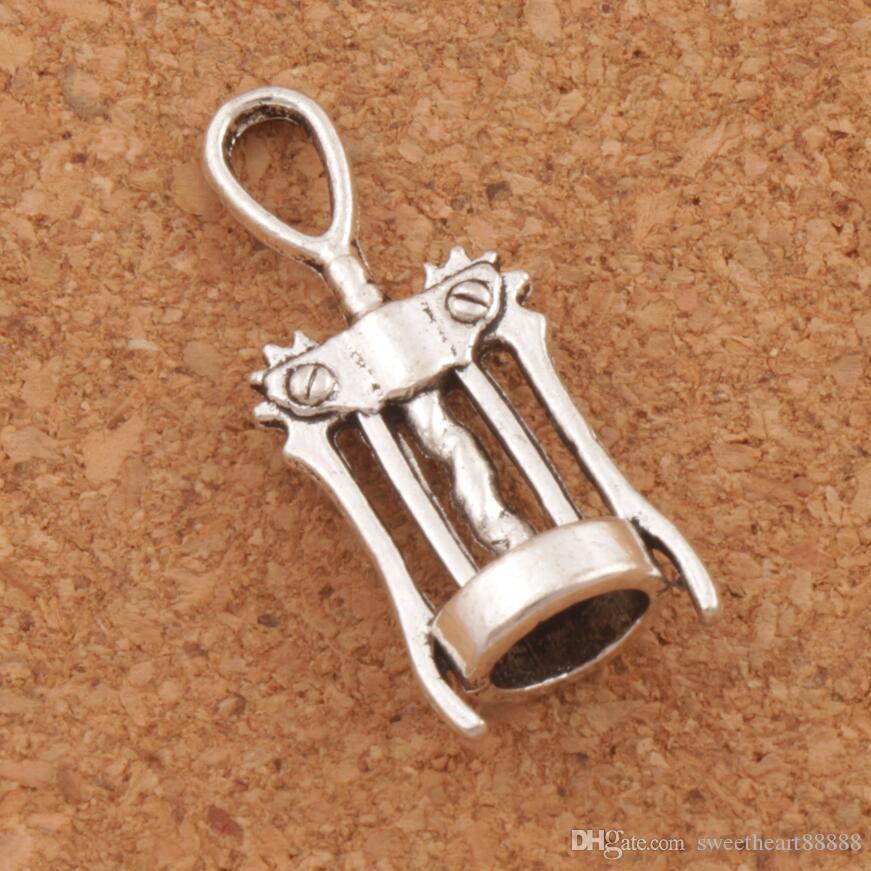 Vinkorkskruv Öppnare Charms 100pcs / Lot 27.3x11.3mm Antika Silver Hängsmycken Smycken DIY L285 Fit Halsband Armband
