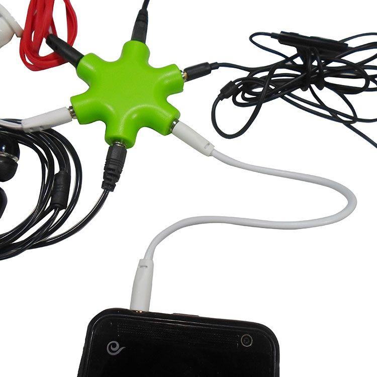 Yüksek Kalite 1 ila 5 3.5 Mm Ses Kablosu Kulaklık Splitter Adaptörü, 6Way Kulaklık Çok Splitter ses adaptörü kulaklık 3.5HUB