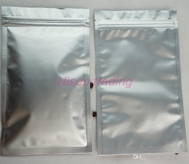 100 adet / grup 26 * 38 cm saf alüminyum folyo ziolock bag-silve beyaz tamamen mylar kaplama çikolata / sığır sarsıntılı depolama plastik ambalaj fermuar kese