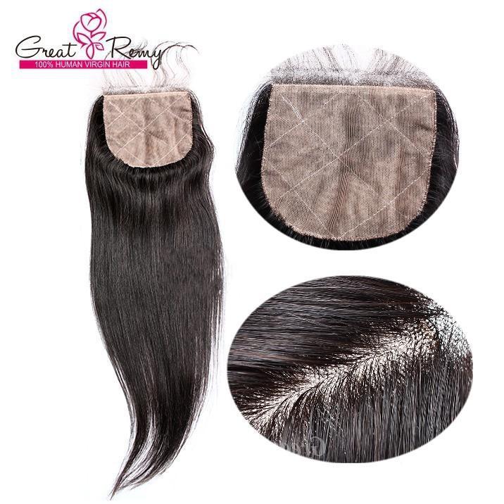 Virgin Brasilian Rak Hår Silk Base Lace Closure Straight Human Hair Closure Bleach Knots Greatem Fabrik Gratis / Mellan / 3 Del