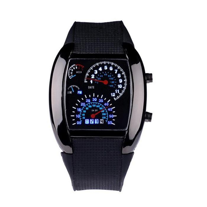 Мода авиации Turbo циферблат светодиодной вспышкой смотреть подарок мужские Леди спортивный автомобиль метр