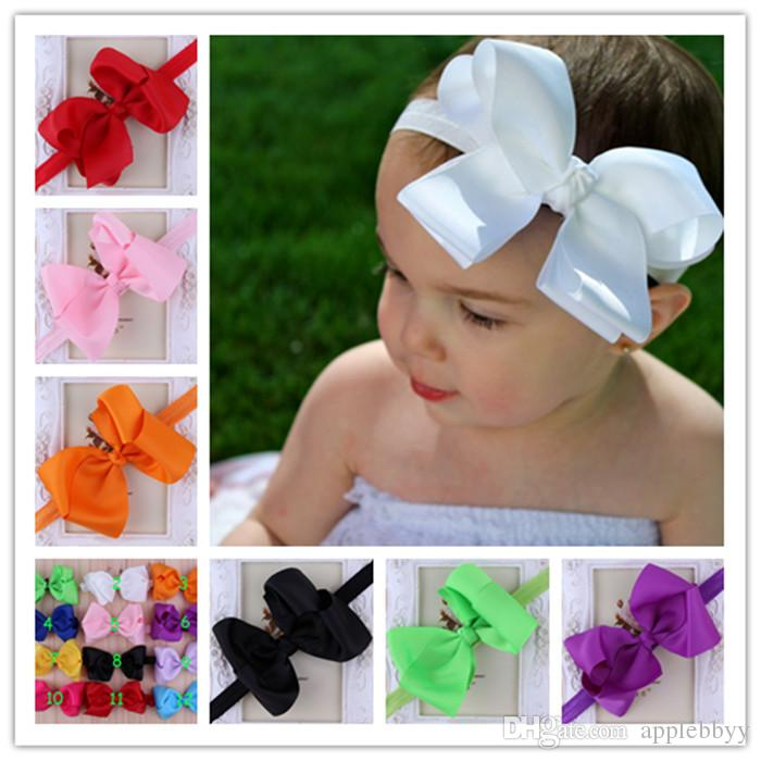 Infant Bow Headbands Girl Flower Headband Children Hair Accessories Newborn Bowknot Flower Hairbands Baby Photography Props 12colors 30pcs