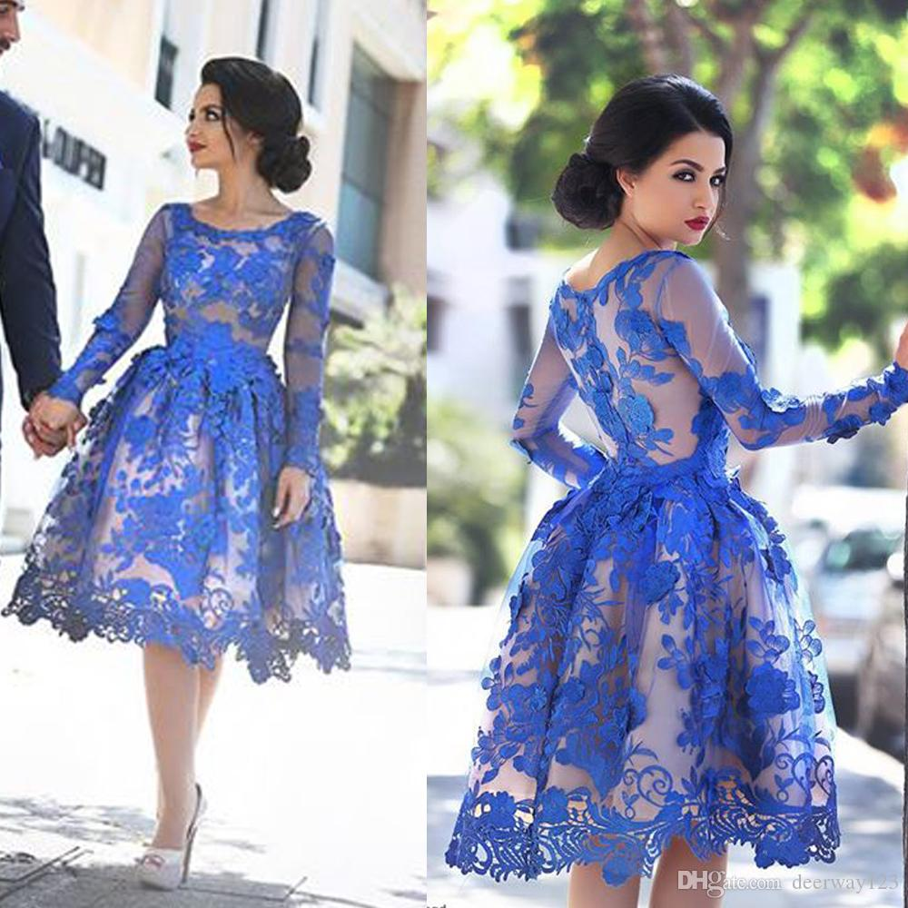 Zarte Royal Blue Appliques Abschlussball Kleid Langarm Kurzes Homecoming Kleid Cocktailkleid Vestidos de Festas Customer
