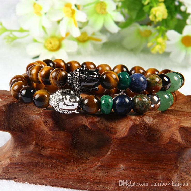 Mescolare 4 colori all'ingrosso 8mm perline di pietra occhio di tigre con 7 Chakra Yoga meditazione energia guarigione Clear Cz Big Buddha Bracciale