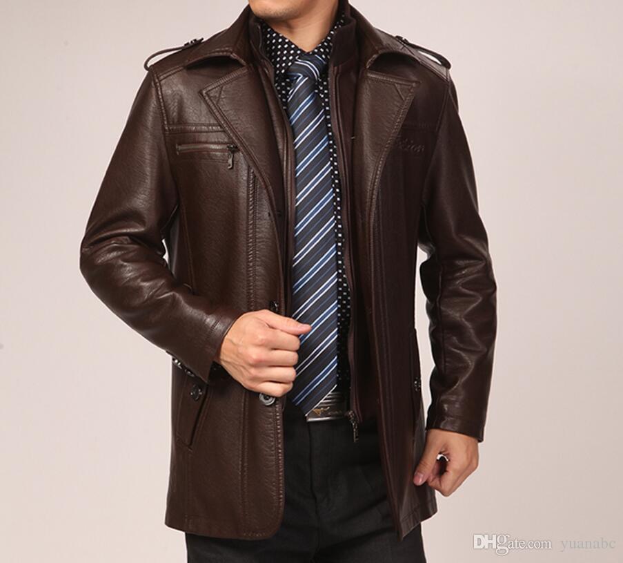 الرجال سترة جلدية فو اثنين من قطعة زائد المخملية بالإضافة إلى حجم الفاخرة معطف الشتاء معطف جلد الرجال / M-3XL