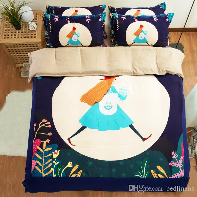 Beautiful Illustration Girl Comfortable Soft Printing Bedding Sets Fabric Cotton Twin Full Queen King Size Duvet Cover Pillow Sham Comforter