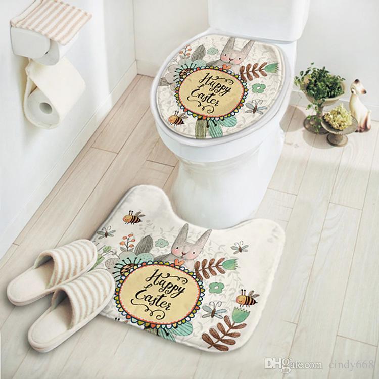 2pcs/set Cartoon Rabbit Bathroom Carpet Set,Comfortable Mat Toilet,Cheap Bathroom Floor Mats,Bath Rugs and Toilet,Tapis Salle de Bain