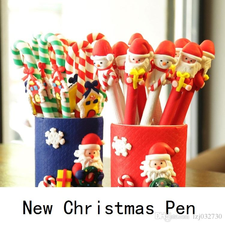 The new Christmas polymer clay Stick pen Christmas items children gifts advertisement pen ball-point pen promotional pens gifts B0756